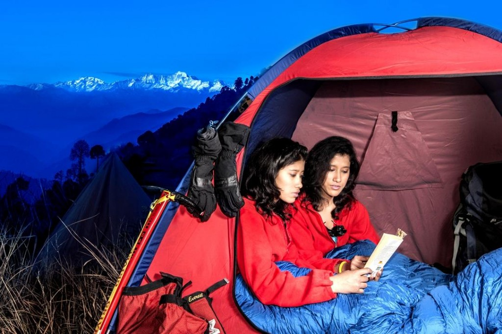 The twins at a camp site in Uttarkashi, Dec 2013. In the background is Bandar Poonch, a major peak in the Garhwal division of the Himalayas.