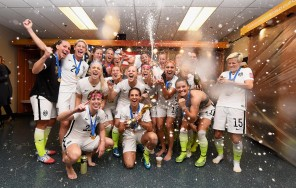 The USA team, who won the 2015 FIFA Women's World Cup against defending champions Japan with a superb 5-2 victory, celebrates in the changing room. All photos courtesy FIFA Women's World Cup Facebook page.