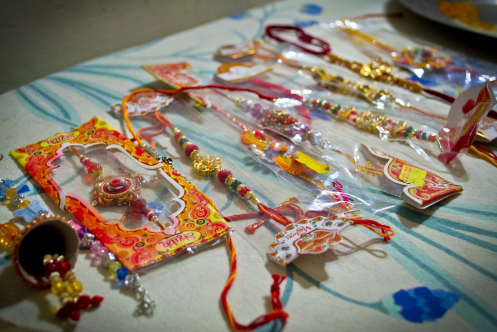 Collection of rakhis on a table.