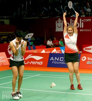 Ashwini Ponnappa and Jwala Gutta win against Japan in the pre-quarter finals of the 2015 World Championships.