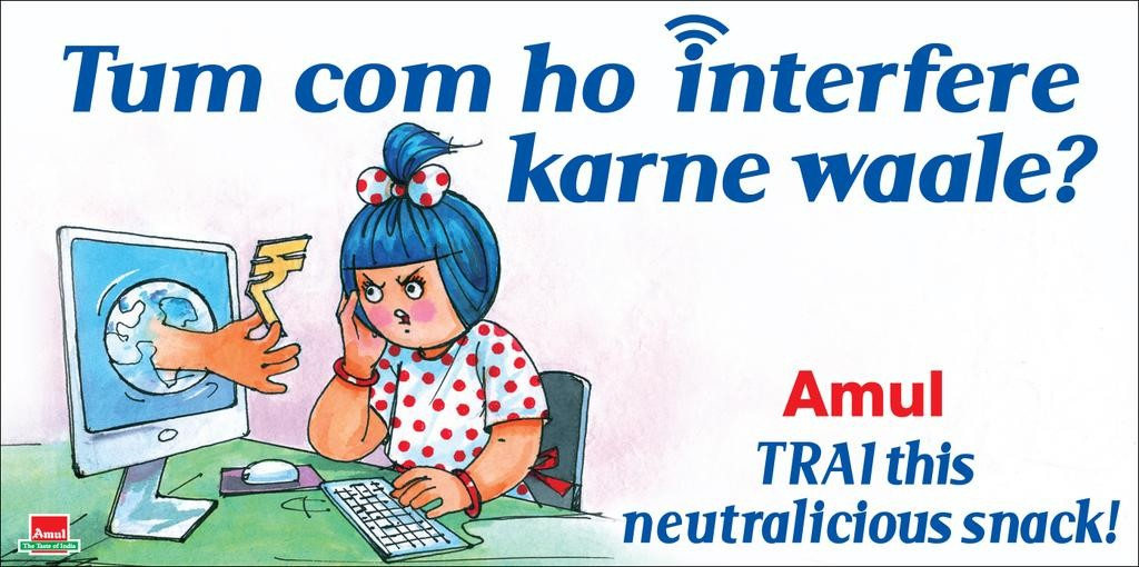 Amul cartoon supporting net neutrality.