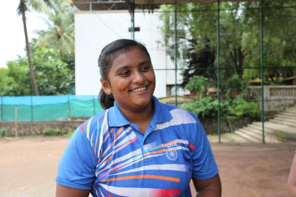 Meghna Devanga, a champion 17-year-old shot-putter from Mumbai.