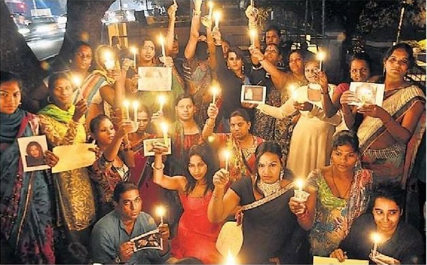 Transgender Women Holding a Candlelight Vigil
