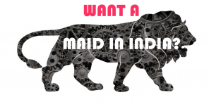 "Silhouette of a lion with the words ""Want a Maid in India?"""