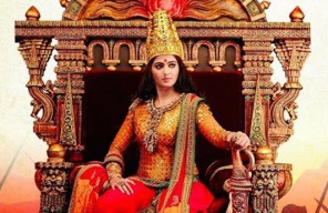 Picture of Rudhramadevi on a throne.