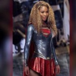 Picture of Serena Williams dressed as a superhero.