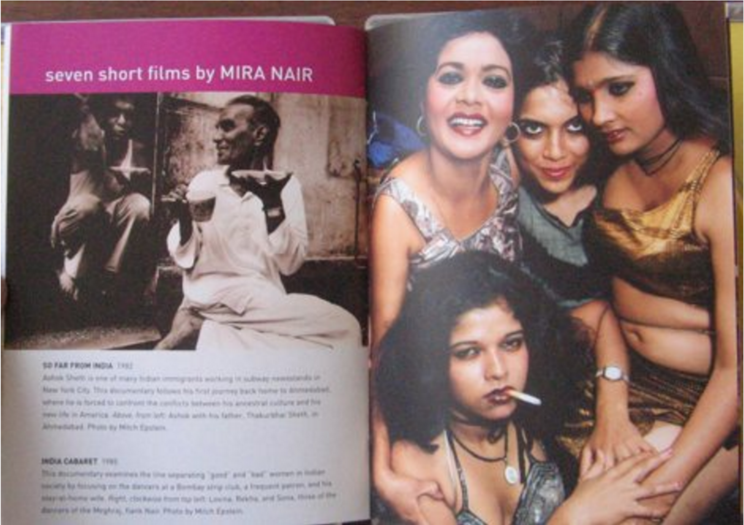 Open magazine with page title 'seven short films by Mira Nair'