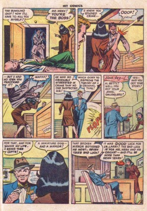 A page from the 1940s Betty Bates comic series in which Betty beats up a villain