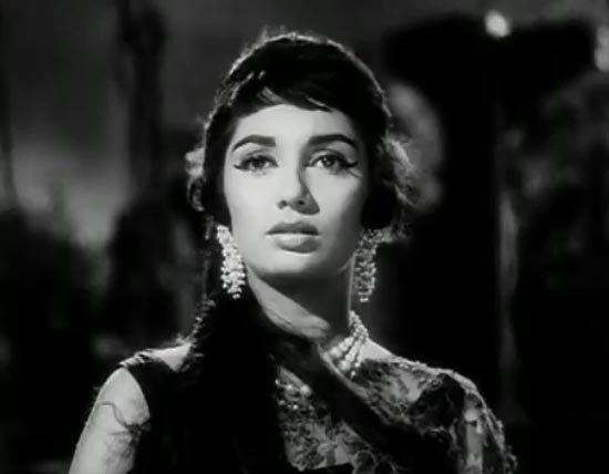 Actor Sadhana: Still from a movie.