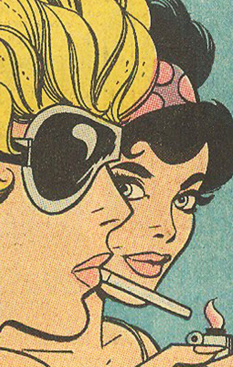 Comic strip of two women, one lighting a cigarette.