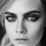 black and white close-up photogaph of model Cara Delevingne