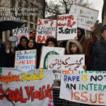London,UK, 22th Feb 2015 : Kashmiri Students Campaign hosts in Solidarity with the Women of Kashmir February 23, 1991 marks the date of the Kunan Poshpora incident where up to 100 women from the tender age of 7 to elderly women of 70 yrs old were Gang raped by 4th Rajputana Rifles of the Indian Army and demands them to face justices outside India High Commision, London. Photo by See Li