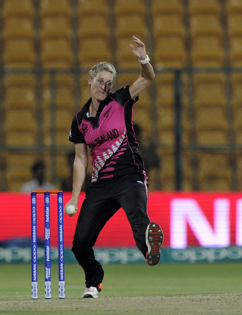 """""""Bangalore, INDIA - MARCH 26 : Sophie Devine of New Zealand bowls during Women's ICC World Twenty20 India 2016 match between South Africa and New Zealand at the Chinnaswamy stadium on March 26, 2016 in Bangalore, India. (Photo by Pal Pillai/IDI via Getty Images)...."""""""