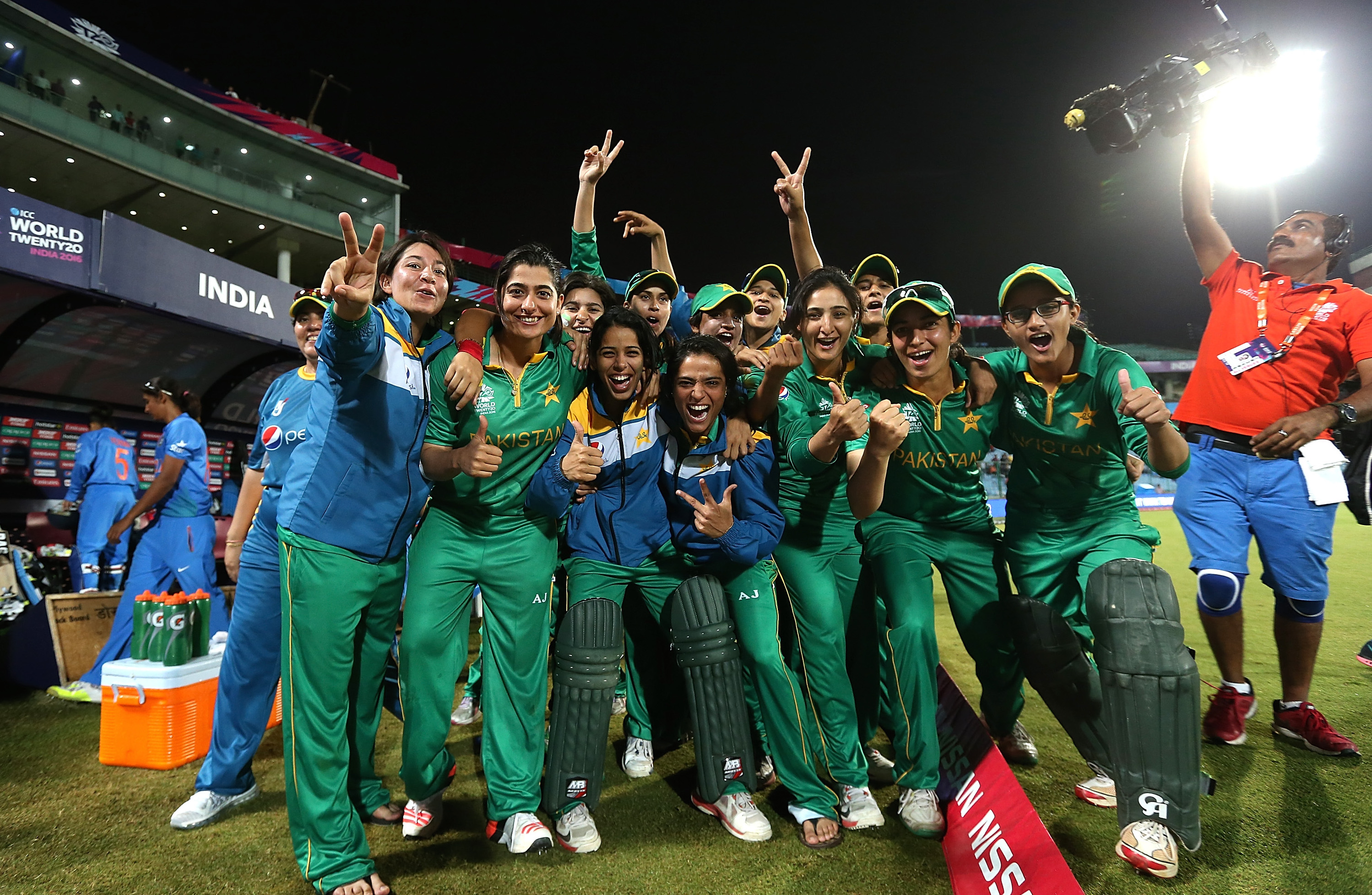 """""""DELHI, INDIA - MARCH 19: The Pakistan team celebrates victory on the Duckworth Lewis method during the Women's ICC World Twenty20 India 2016 match between India and Pakistan at Feroz Shah Kotla Ground on March 19, 2016 in Delhi, India. (Photo by Jan Kruger-IDI/IDI via Getty Images)"""""""
