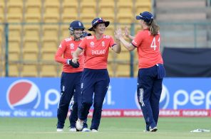 """""""Bangalore, INDIA - MARCH 17 : Charlotte Edwards, Captain of England celebrates the wicket of Rumana Ahmed of Bangladesh during the Women's ICC World Twenty20 India 2016 match between England and Bangladesh at the Chinnaswamy stadium on March 17, 2016 in Bangalore, India. (Photo by Pal Pillai/IDI via Getty Images).."""""""