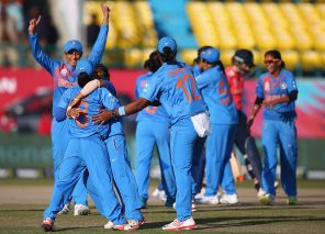 DHARAMSALA, INDIA - MARCH 22:  India celebrate the wicket of Charlotte Edwards, Captain of England during the Women's ICC World Twenty20 India 2016 match between England and India at the HPCA Stadium on March 22, 2016 in Dharamsala, India.  (Photo by Matthew Lewis-IDI/IDI via Getty Images)