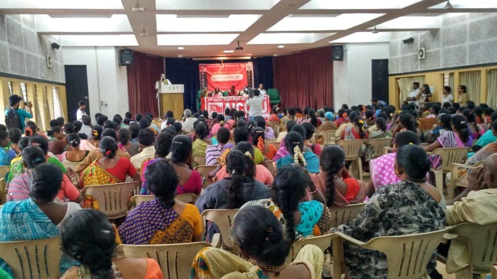 A public consultation on minimum wages held in Bangalore on June 15, 2016. Photo courtesy BBMP Guttige Pourakarmika Sangha.