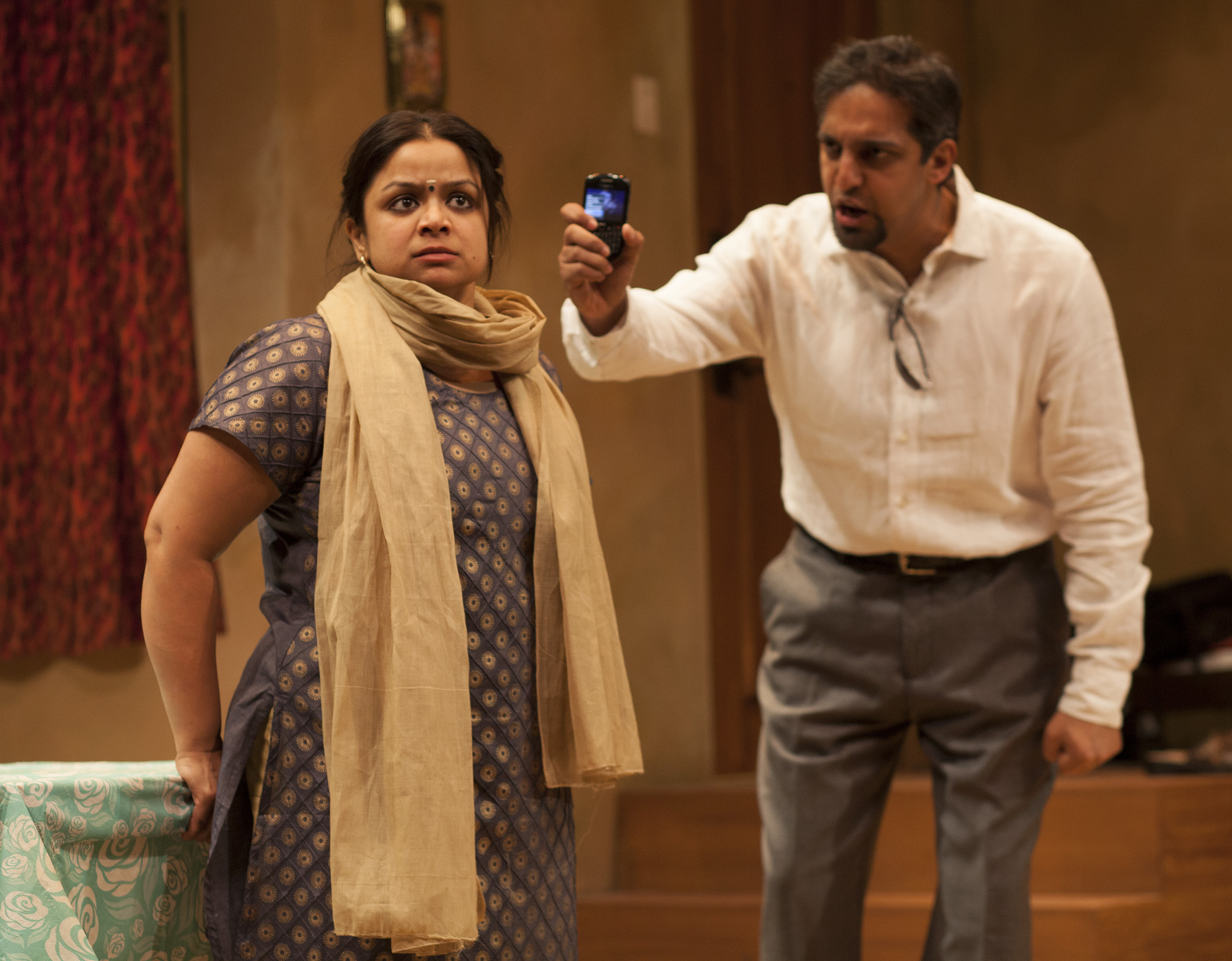 Anusree Roy as Malini and Ash Knight as Santhosh in Anupama Chandrasekhar's play Free Outgoing.