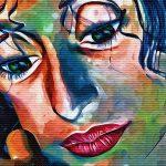 Woman Lips Graffiti Mouth Face Colorful Eyes